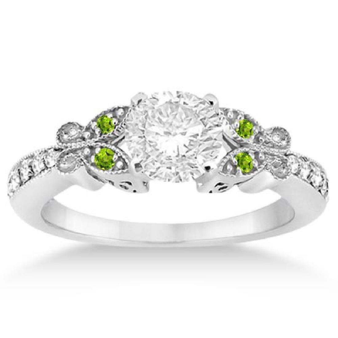 Butterfly Diamond and Peridot Engagement Ring 14k White