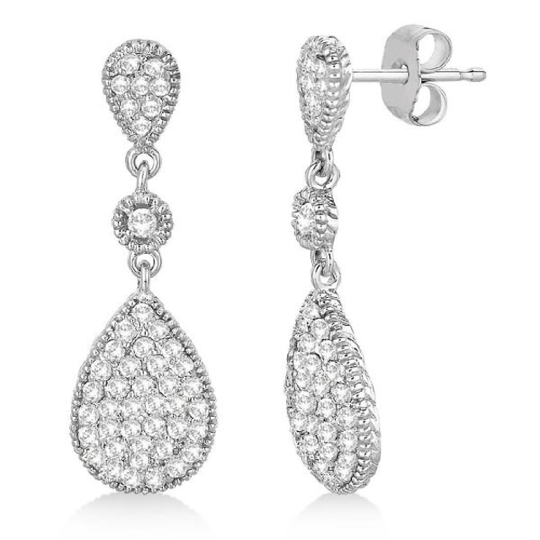 Milgrain Tear Drop Dangling Diamond Earrings 14k White