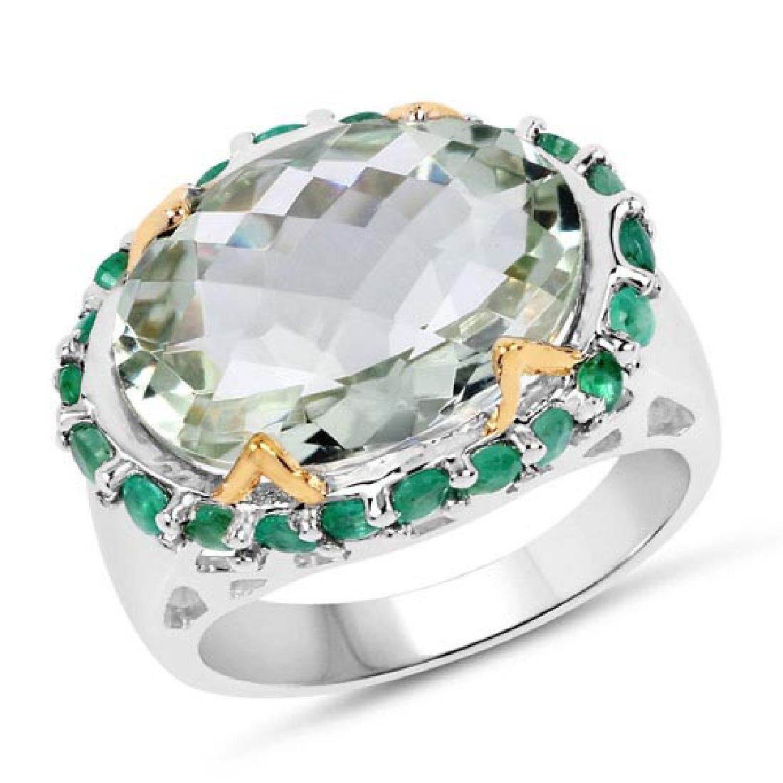 Two Tone Plated 8.86 Carat Genuine Green Amethyst and E