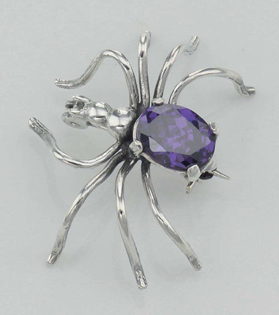 Amethyst Spider Pin or Brooch - Sterling Silver