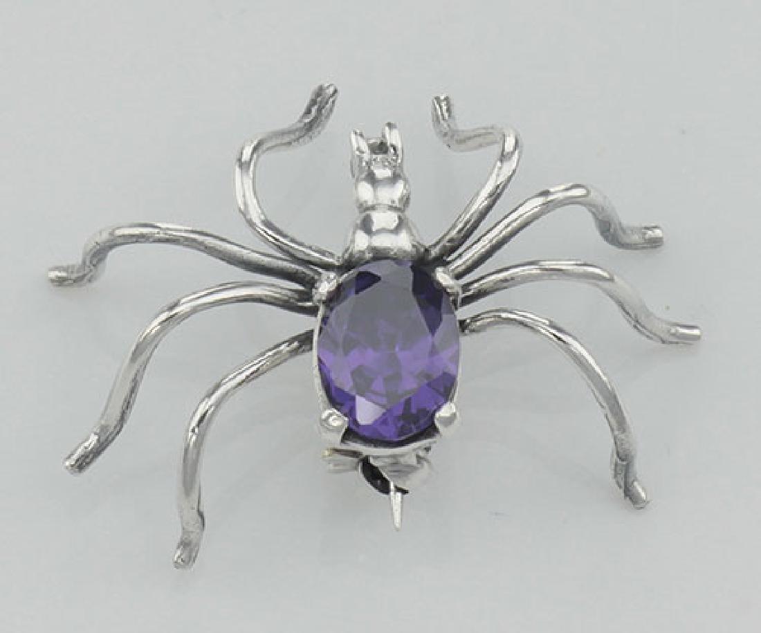 Amethyst Spider Pin or Brooch - Sterling Silver - 2