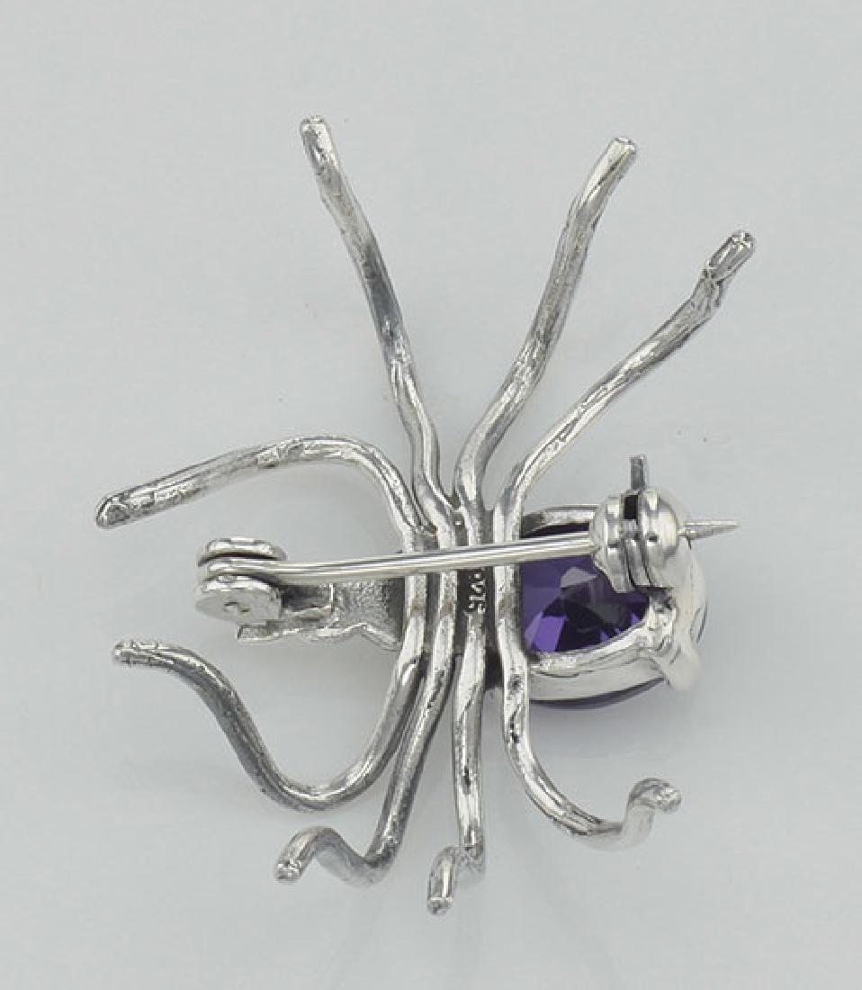 Amethyst Spider Pin or Brooch - Sterling Silver - 3