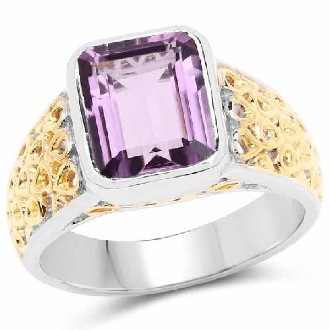 Two Tone Plated 2.65 Carat Genuine Amethyst .925 Sterli
