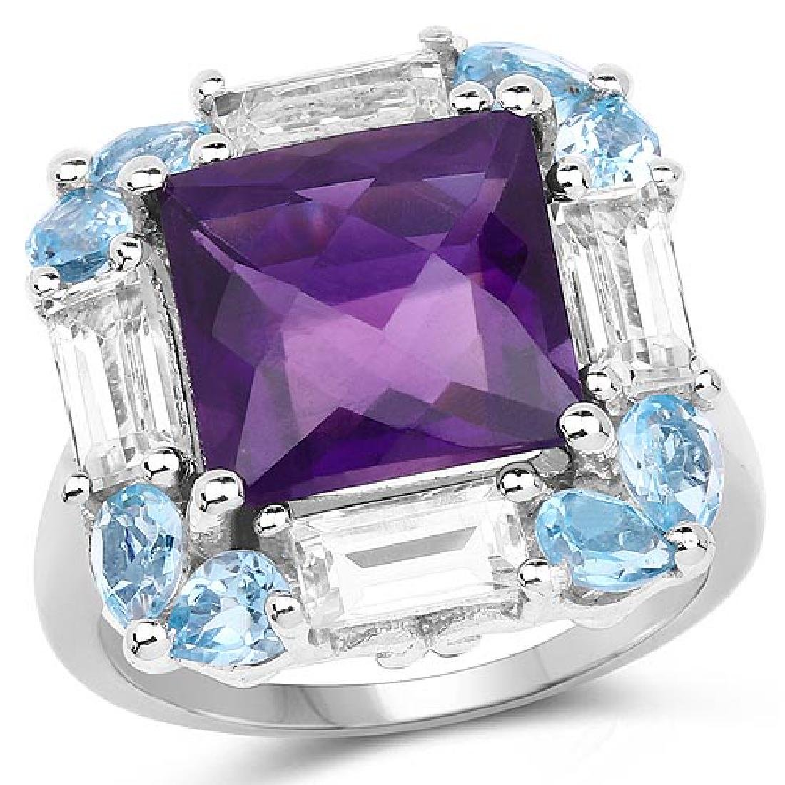 7.51 Carat Genuine Amethyst Swiss Blue Topaz and White