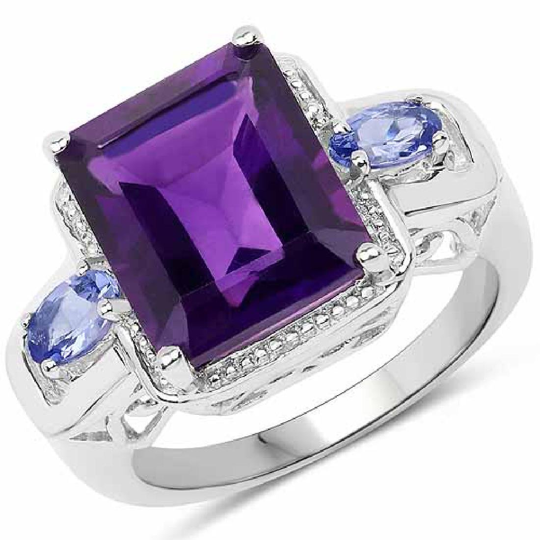 5.15 Carat Genuine Amethyst and Tanzanite .925 Sterling