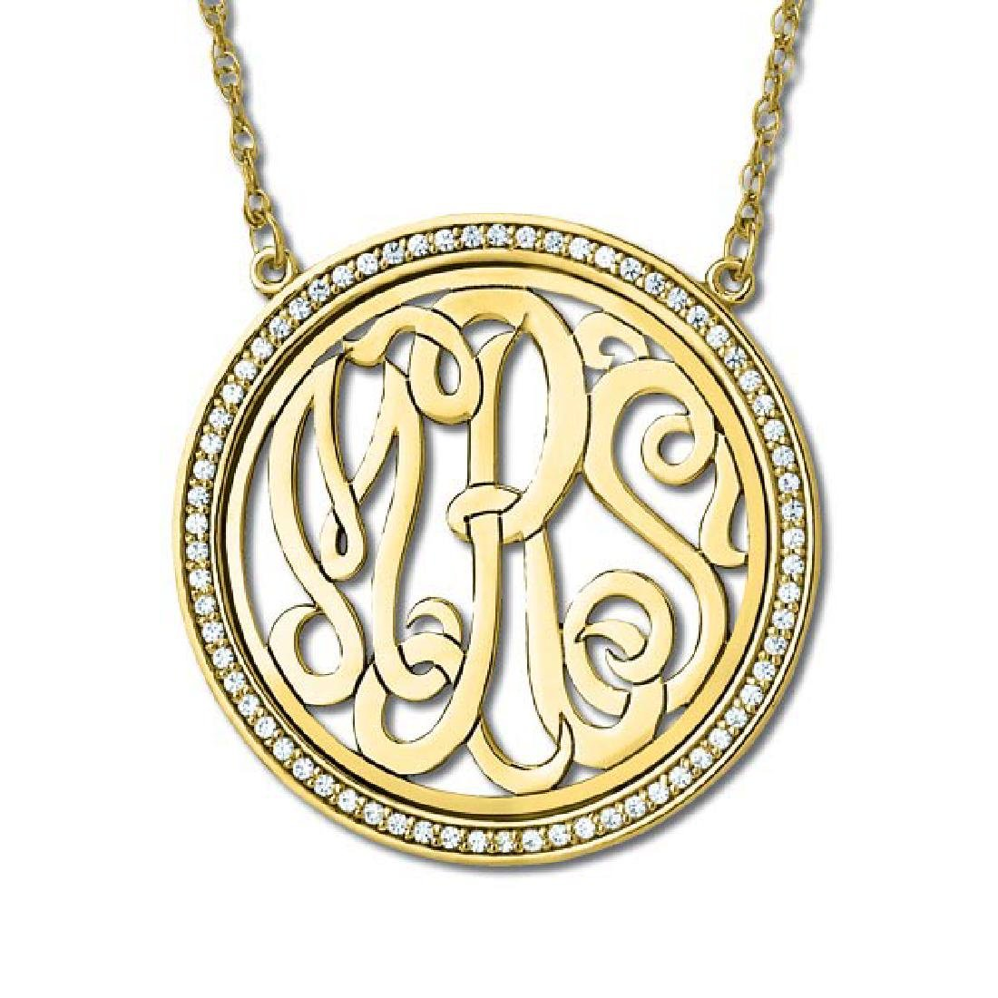 Monogram Initial Necklace with Diamond Accents 14k Yell