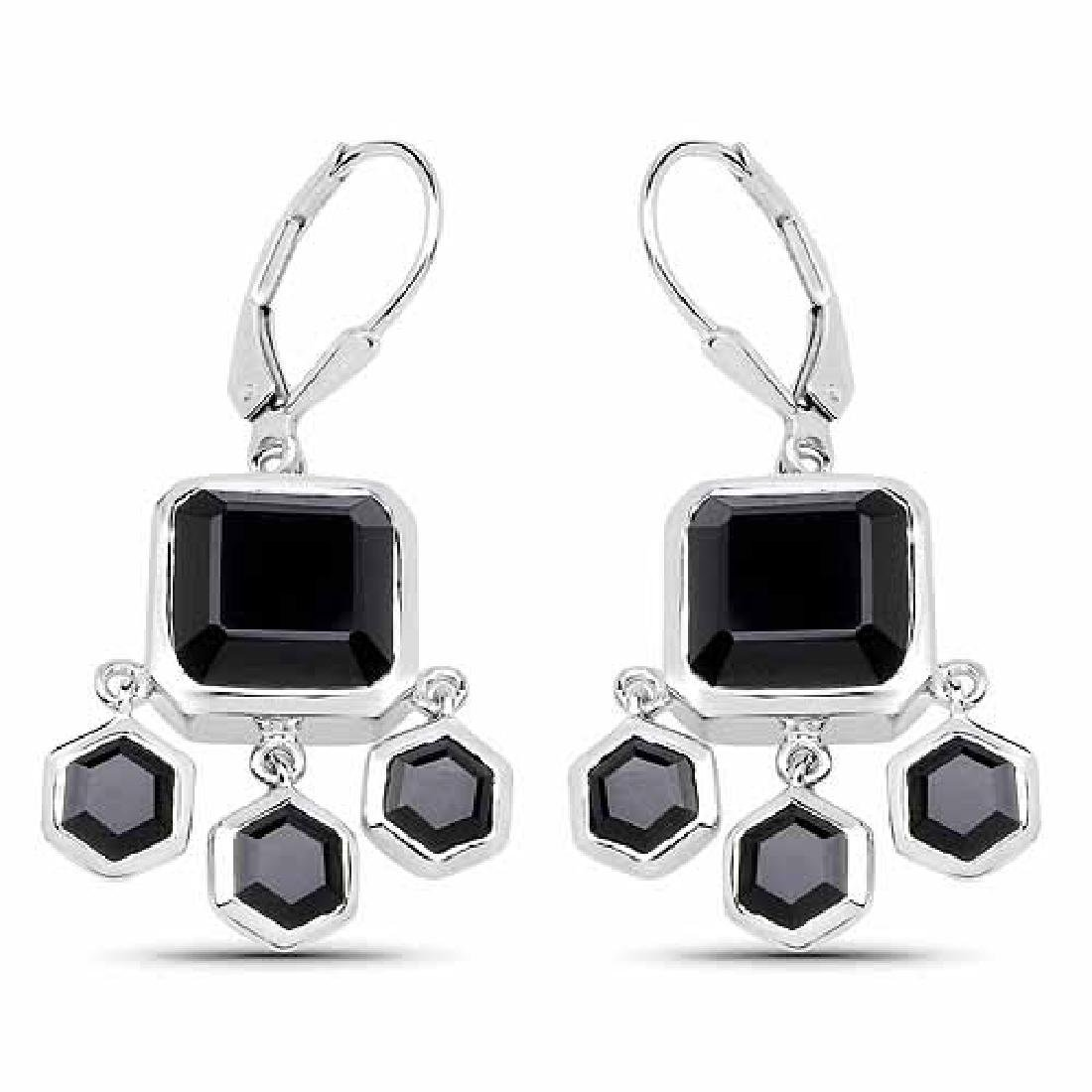 10.44 Carat Genuine Black Onyx .925 Sterling Silver Ear