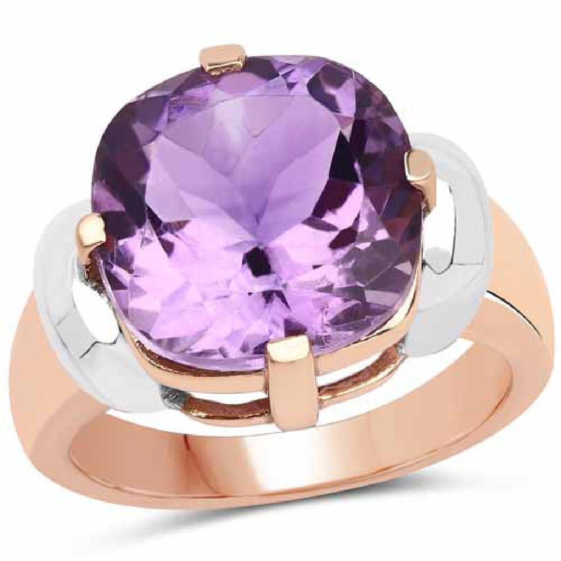 14K Rose Gold Plated 5.69 Carat Genuine Amethyst Brass