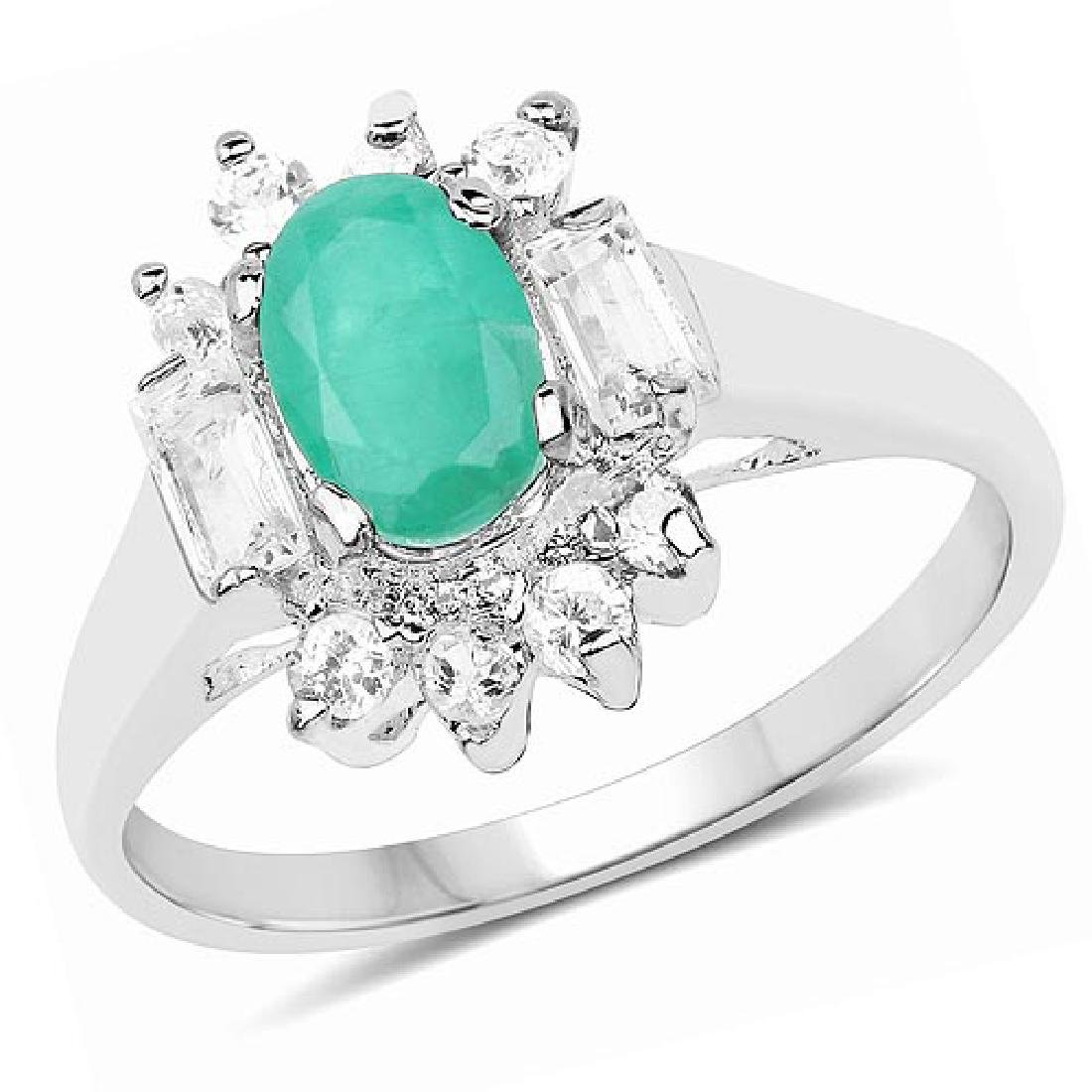 1.23 Carat Genuine Emerald and White Topaz .925 Sterlin