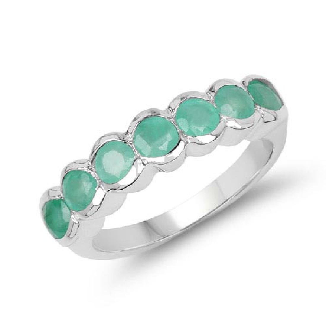 1.19 Carat Genuine Emerald .925 Sterling Silver Ring