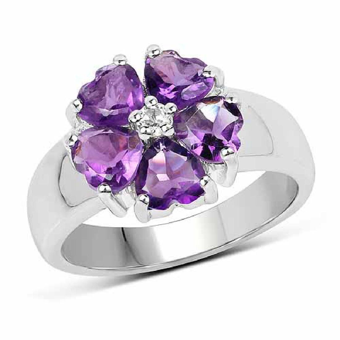 2.33 Carat Genuine Amethyst and White Topaz .925 Sterli