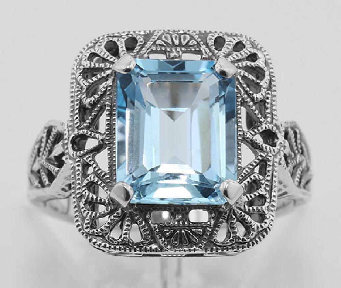 Classic Art Deco Style Blue Topaz Filigree Ring - Sterl - 2