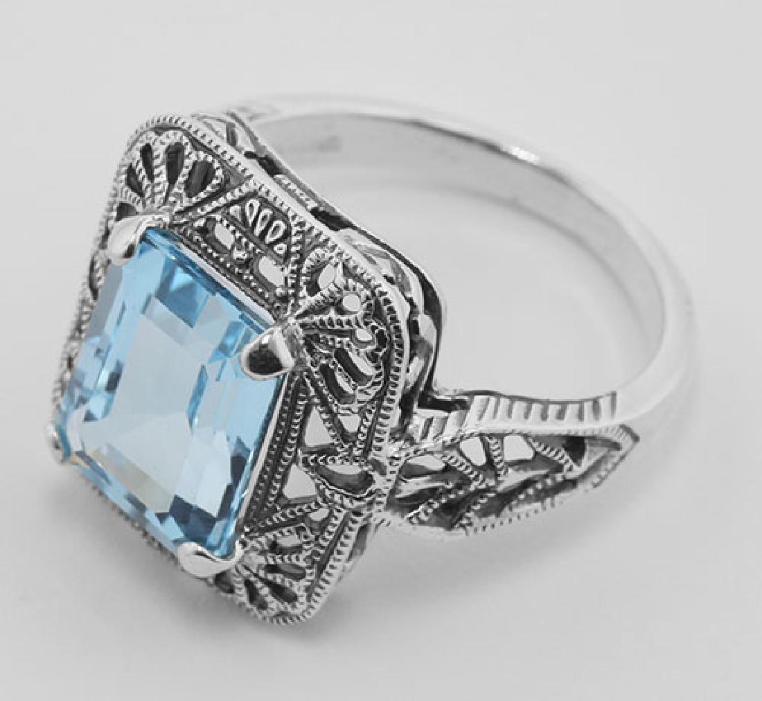 Classic Art Deco Style Blue Topaz Filigree Ring - Sterl - 3