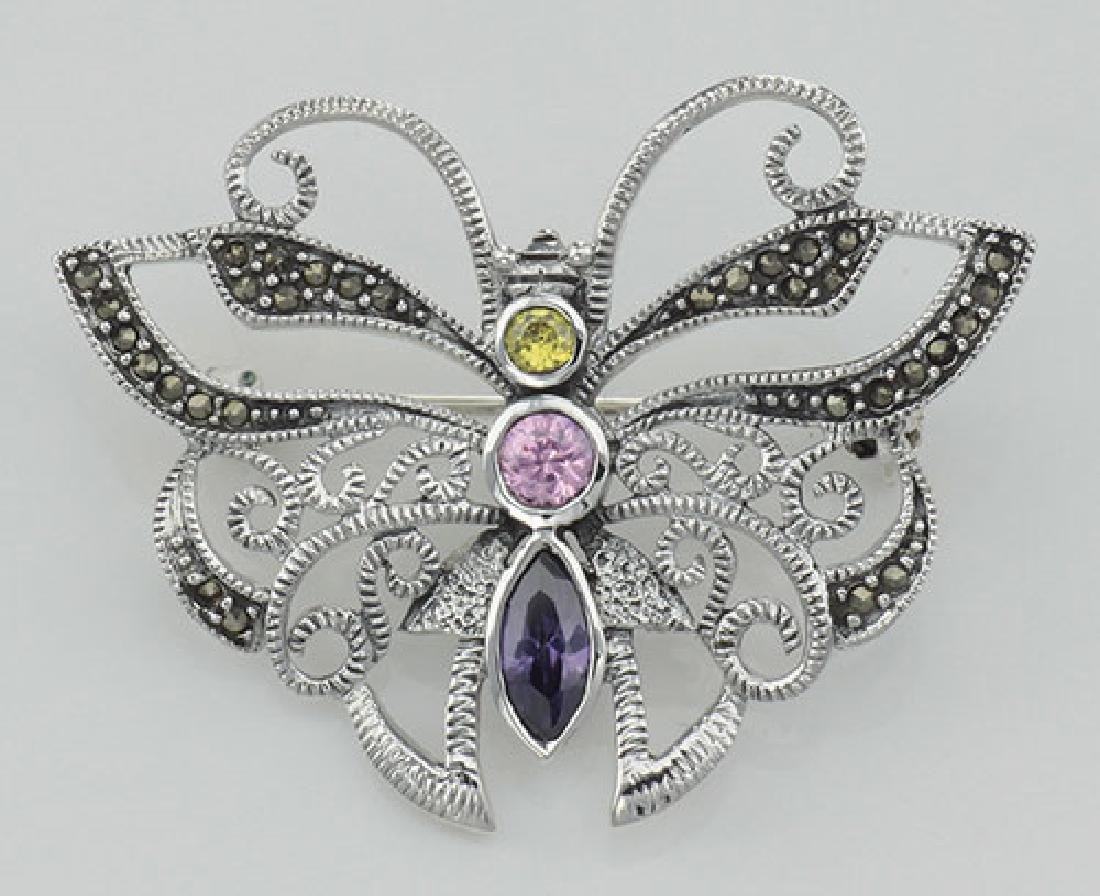 Marcasite Butterfly Pin with Gemstones - Sterling Silve