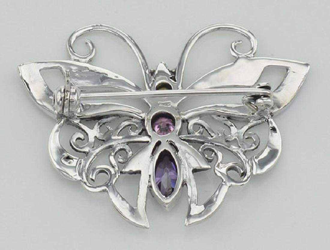 Marcasite Butterfly Pin with Gemstones - Sterling Silve - 2
