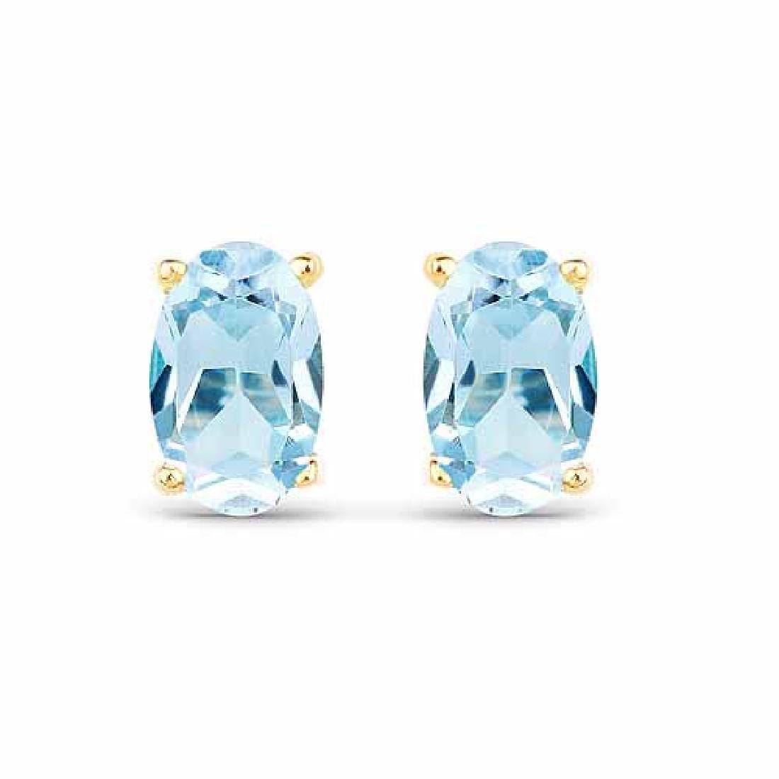 0.70 Carat Genuine Blue Topaz 10K Yellow Gold Earrings