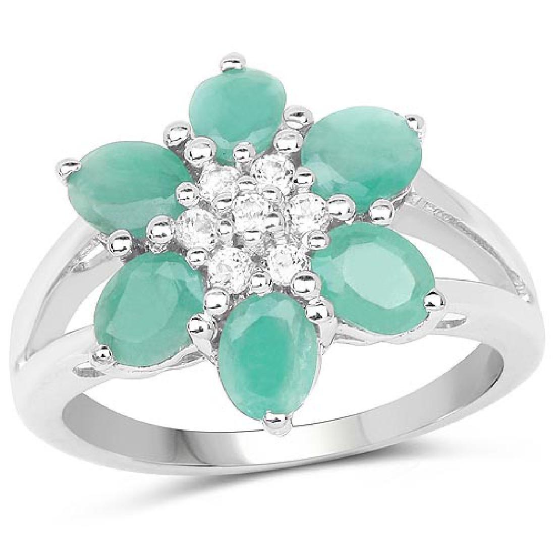 1.93 Carat Genuine Emerald and White Topaz .925 Sterlin