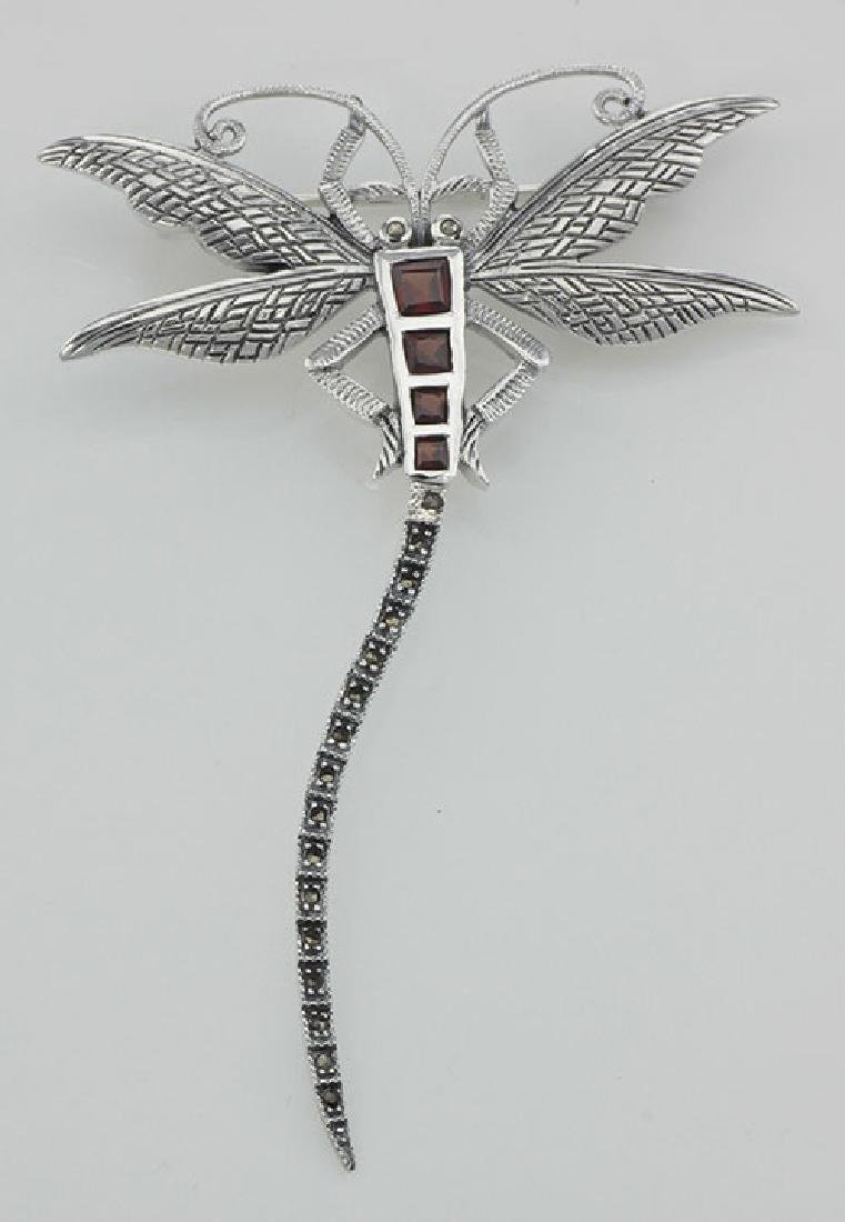 Marcasite / Garnet Dragonfly Pin or Brooch - Sterling S