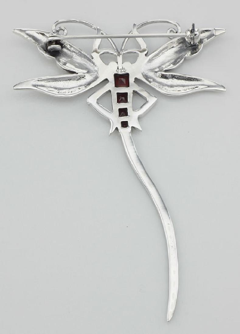 Marcasite / Garnet Dragonfly Pin or Brooch - Sterling S - 2