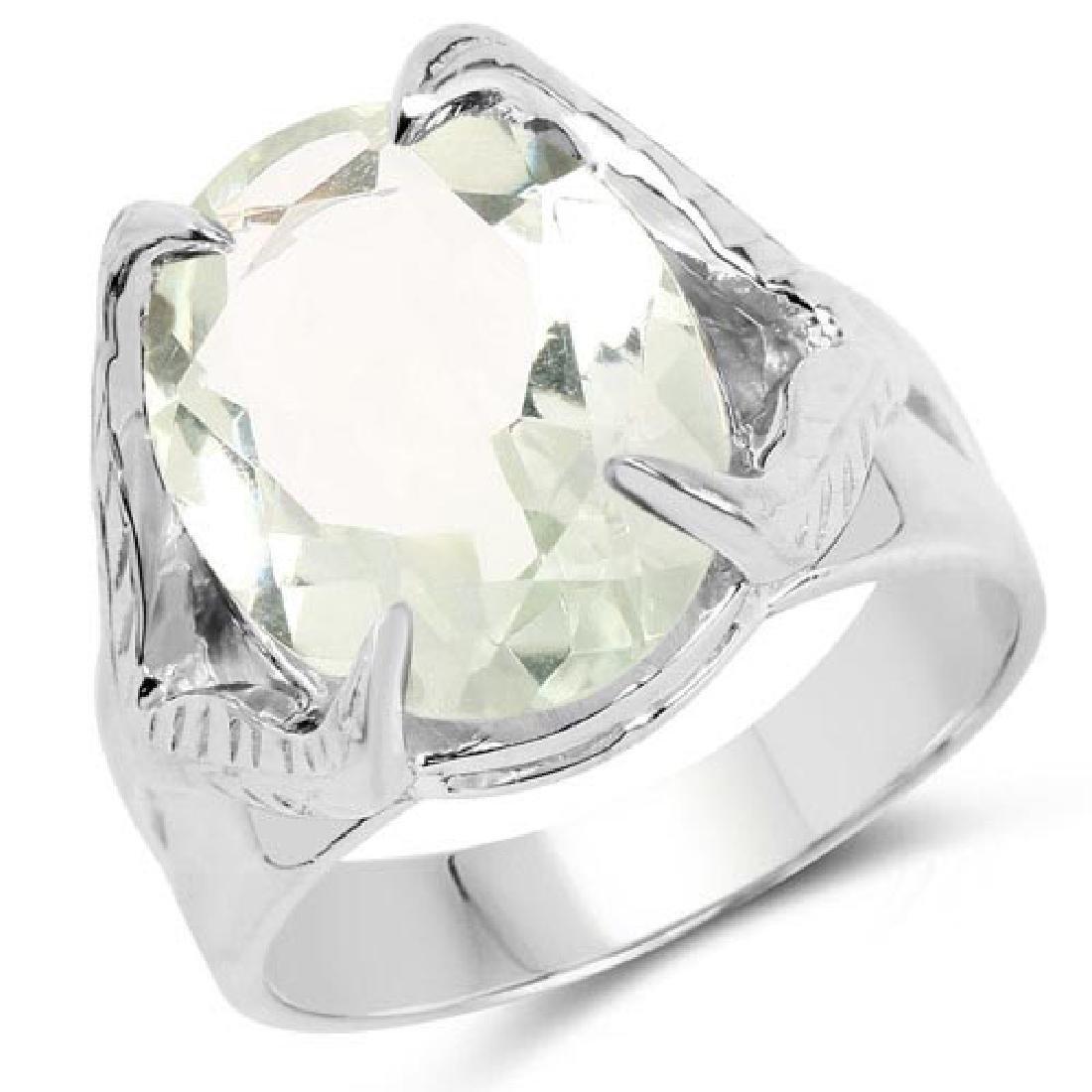 8.20 Carat Genuine Green Amethyst .925 Sterling Silver