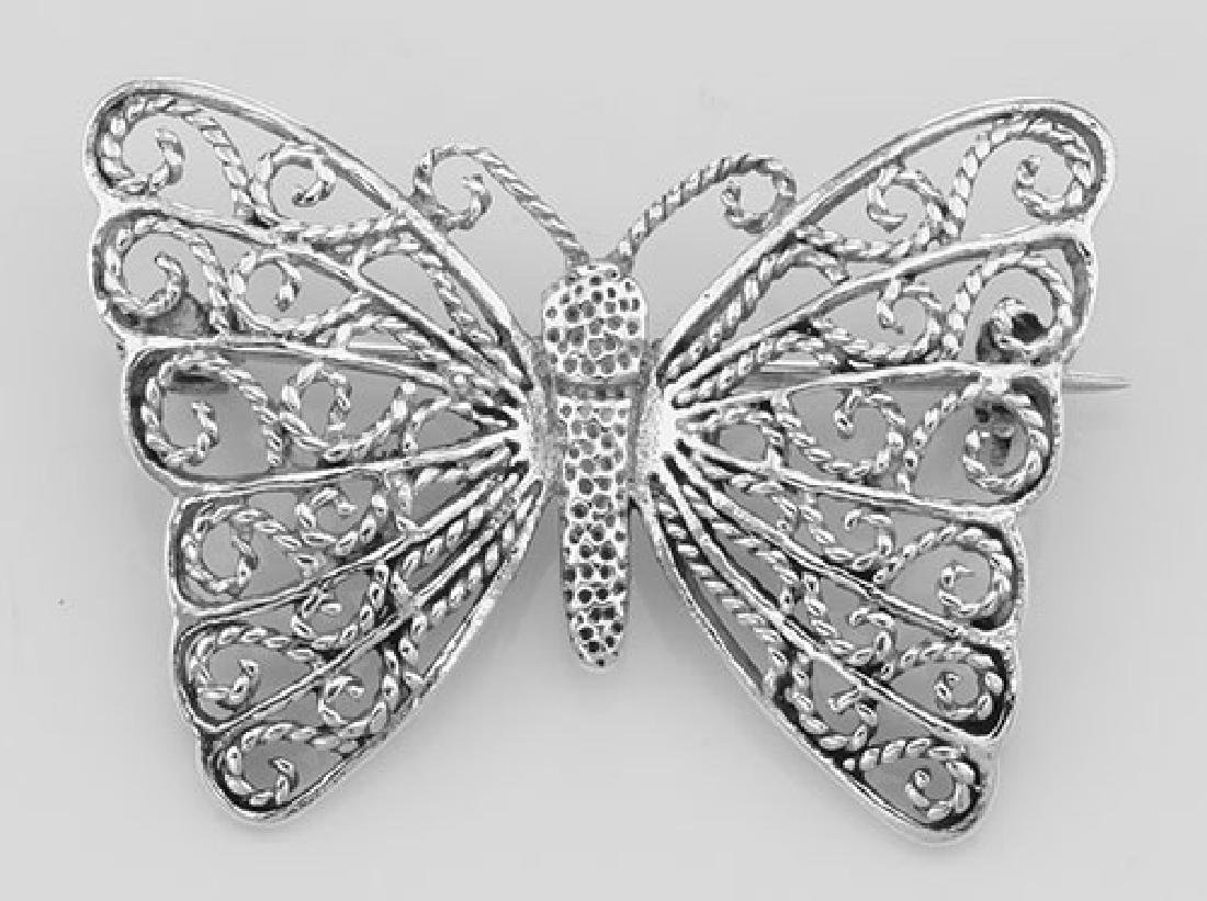 Filigree Butterfly Pin / Brooch - Sterling Silver