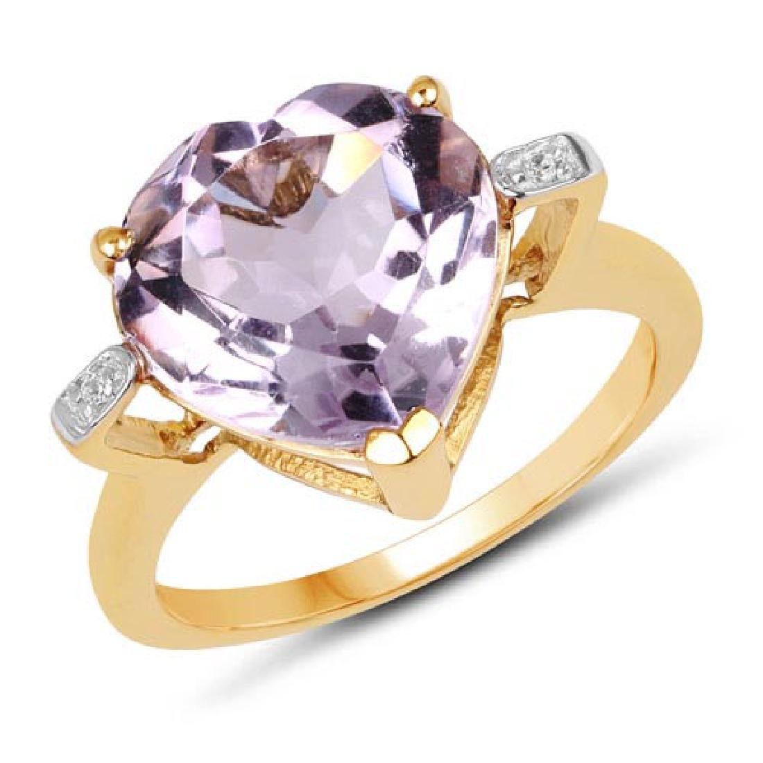 14K Yellow Gold Plated 5.26 Carat Genuine Pink Amethyst