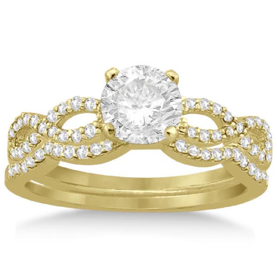 Infinity Twisted Diamond Matching Bridal Set in 14K Yel