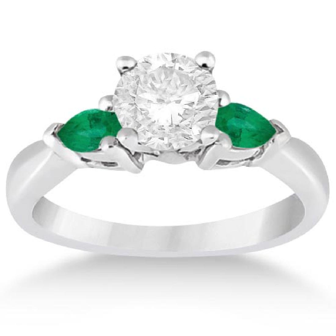 Pear Cut Three Stone Emerald Engagement Ring 14k White