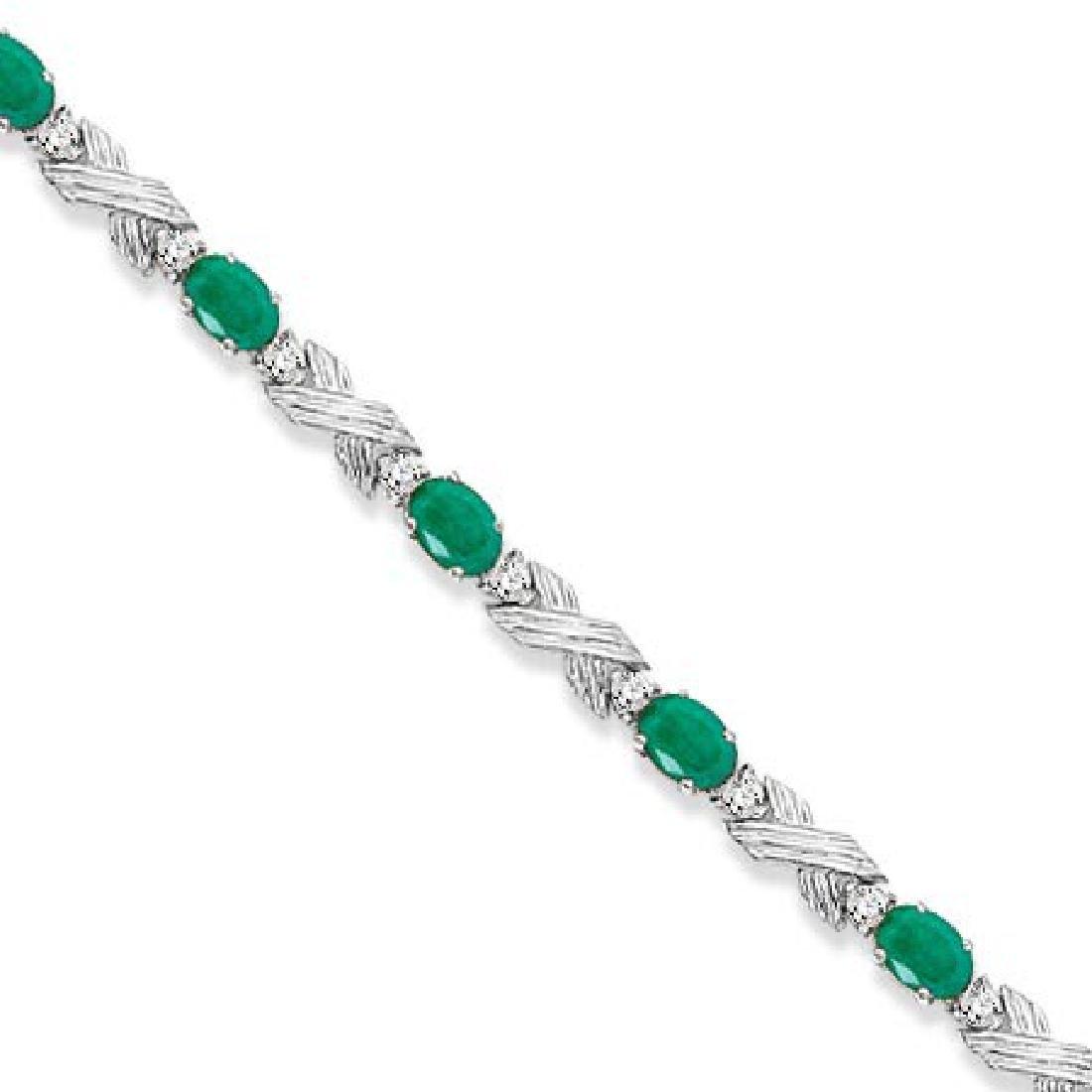Emerald and Diamond XOXO Link Bracelet in 14k White Gol