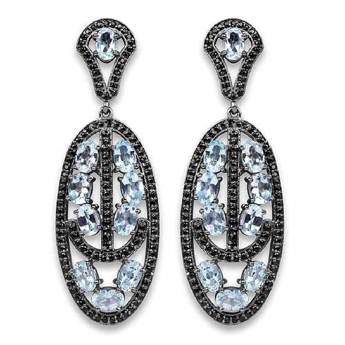 13.80 Carat Genuine Blue Topaz and Black Spinel .925 St