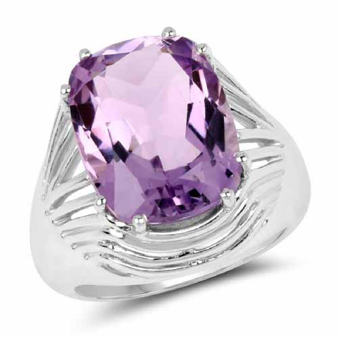 10.02 Carat Genuine Amethyst .925 Sterling Silver Ring