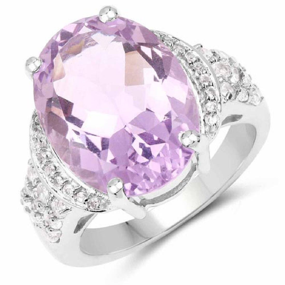 8.98 Carat Genuine Amethyst and White Topaz .925 Sterli