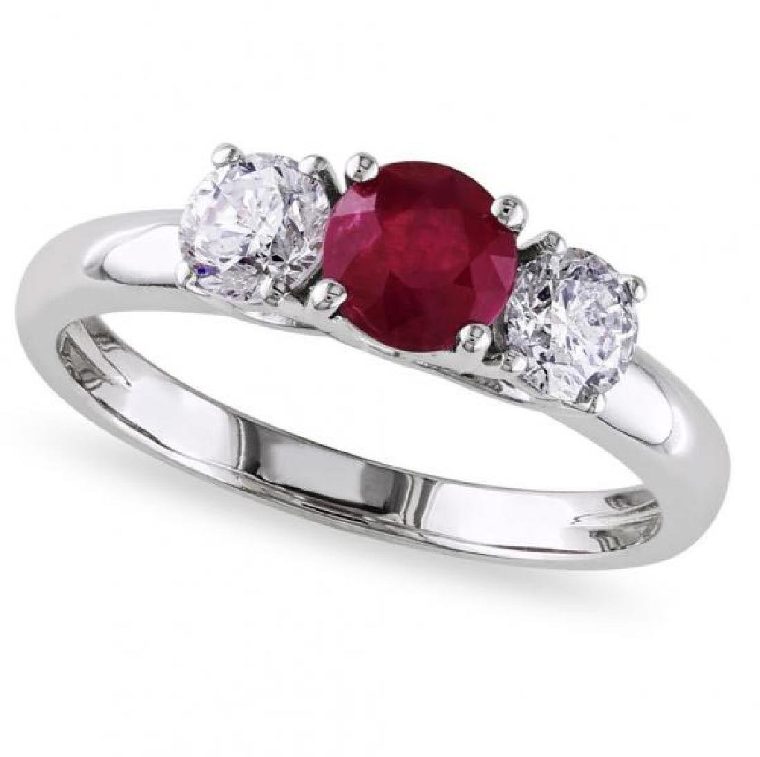 Ruby and Diamond Three Stone Engagement Ring in 14k Whi