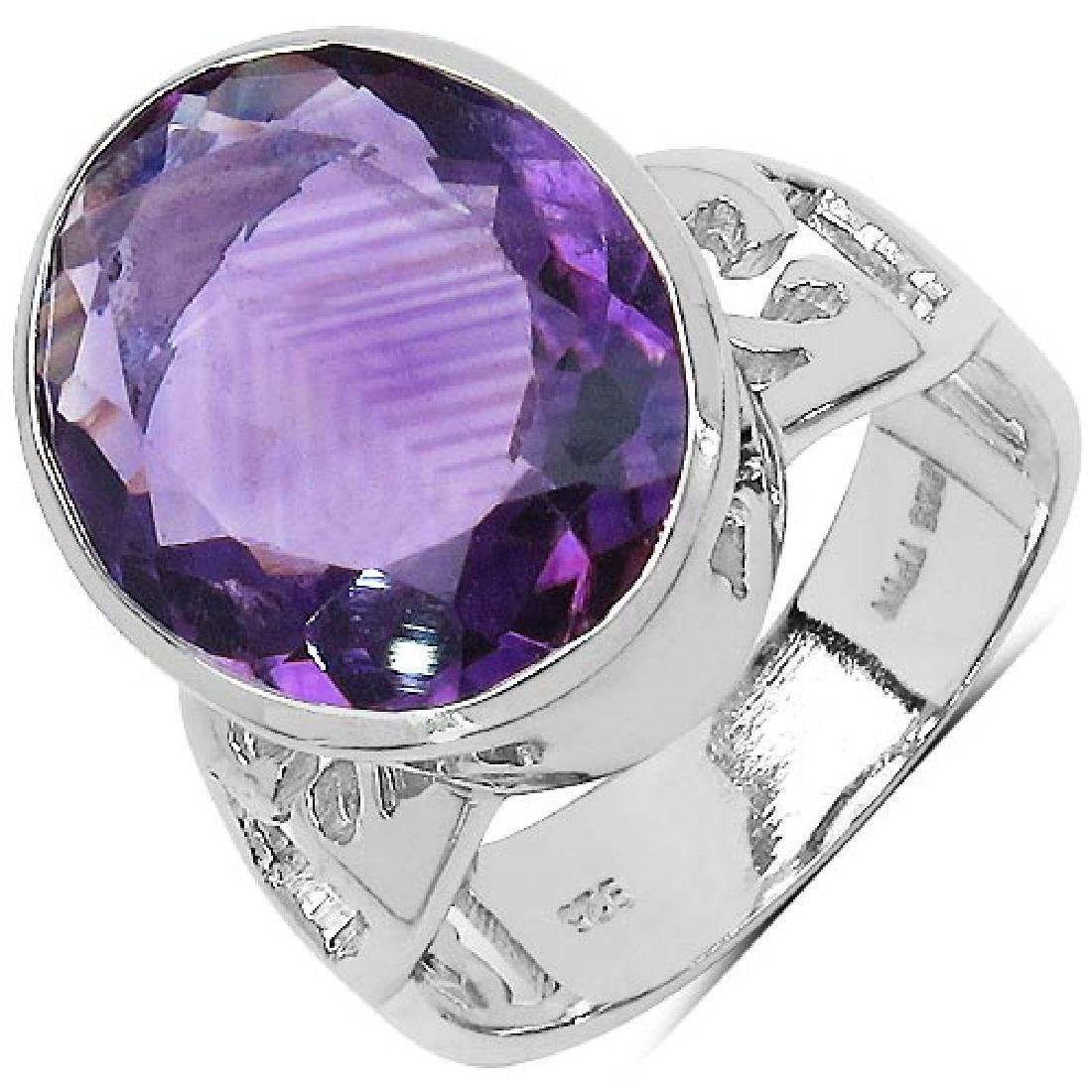 7.83 Carat Genuine Amethyst .925 Sterling Silver Ring
