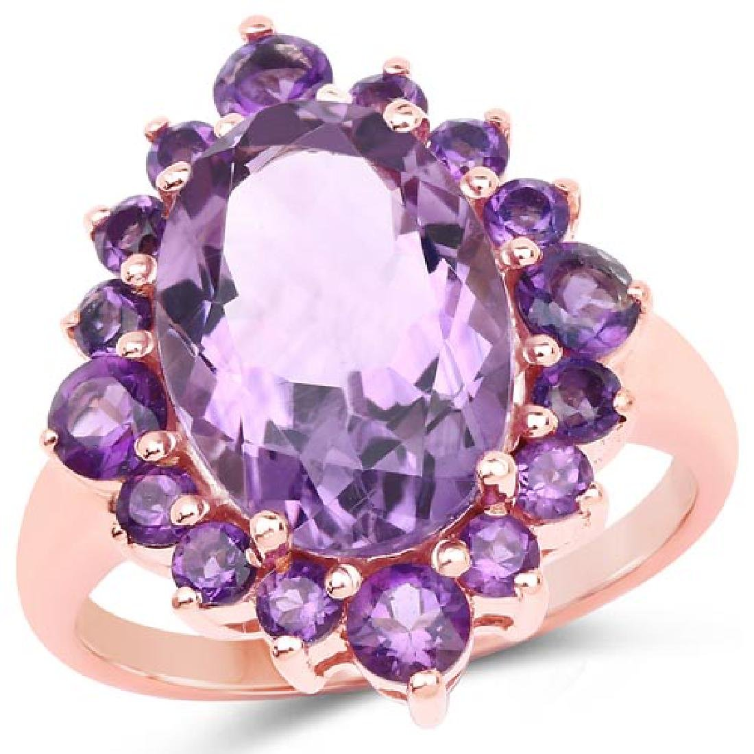 14K Rose Gold Plated 6.22 Carat Genuine Amethyst Brass