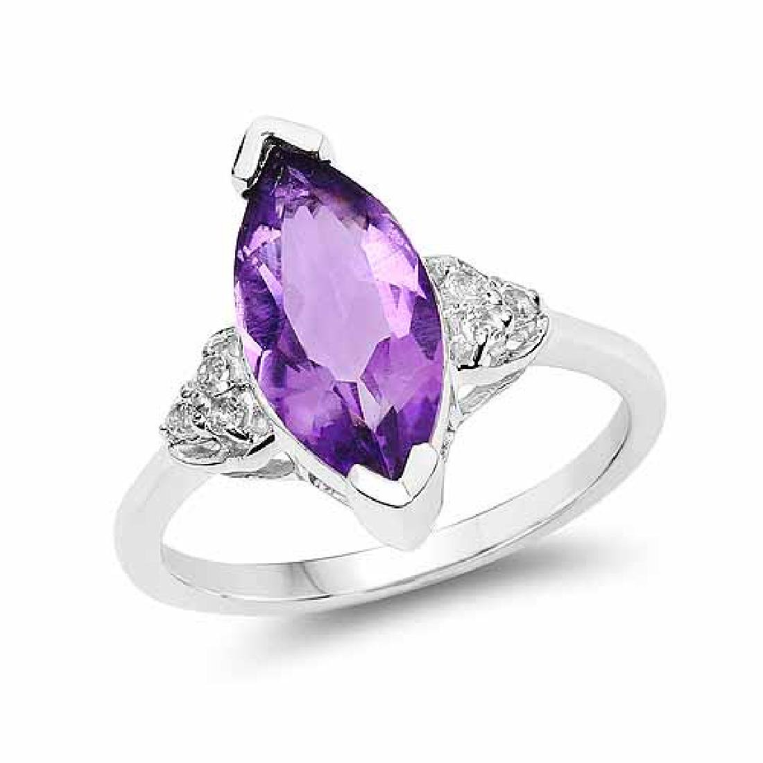 2.66 Carat Genuine Amethyst and White Topaz .925 Sterli