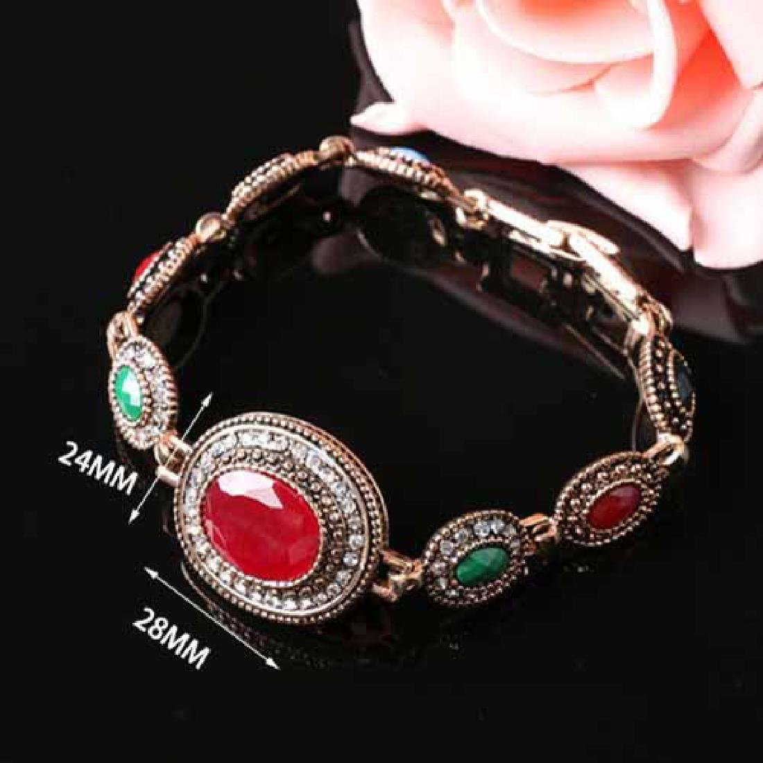 CREATED RED STONE 18K GOLD PLATED GERMAN SILVER BRACELE