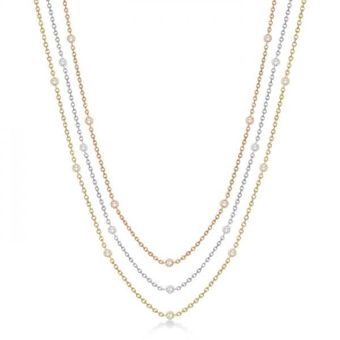 Three-Strand Diamond Station Necklace in 14k Three-Tone