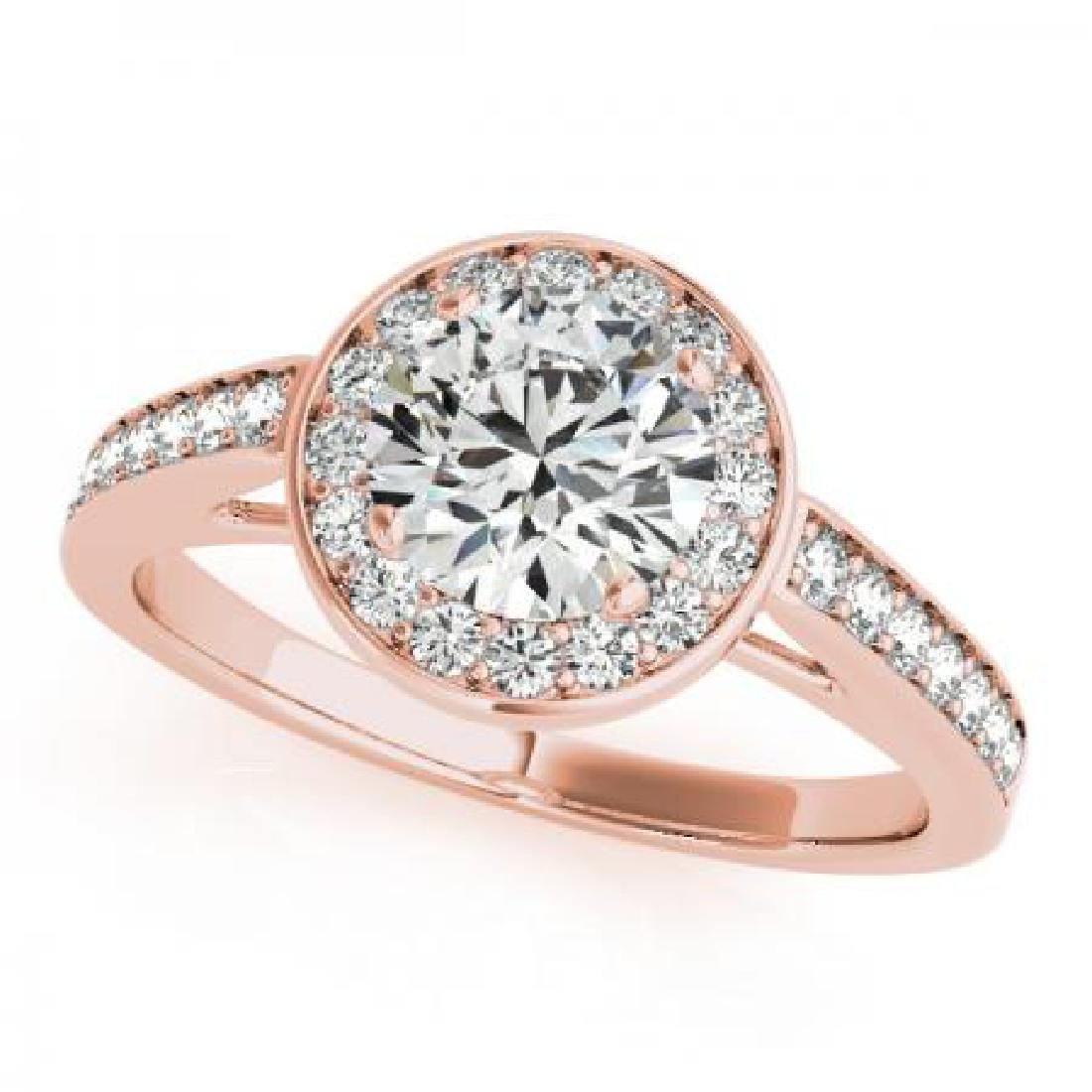 CERTIFIED 18K ROSE GOLD .87 CT G-H/VS-SI1 DIAMOND HALO