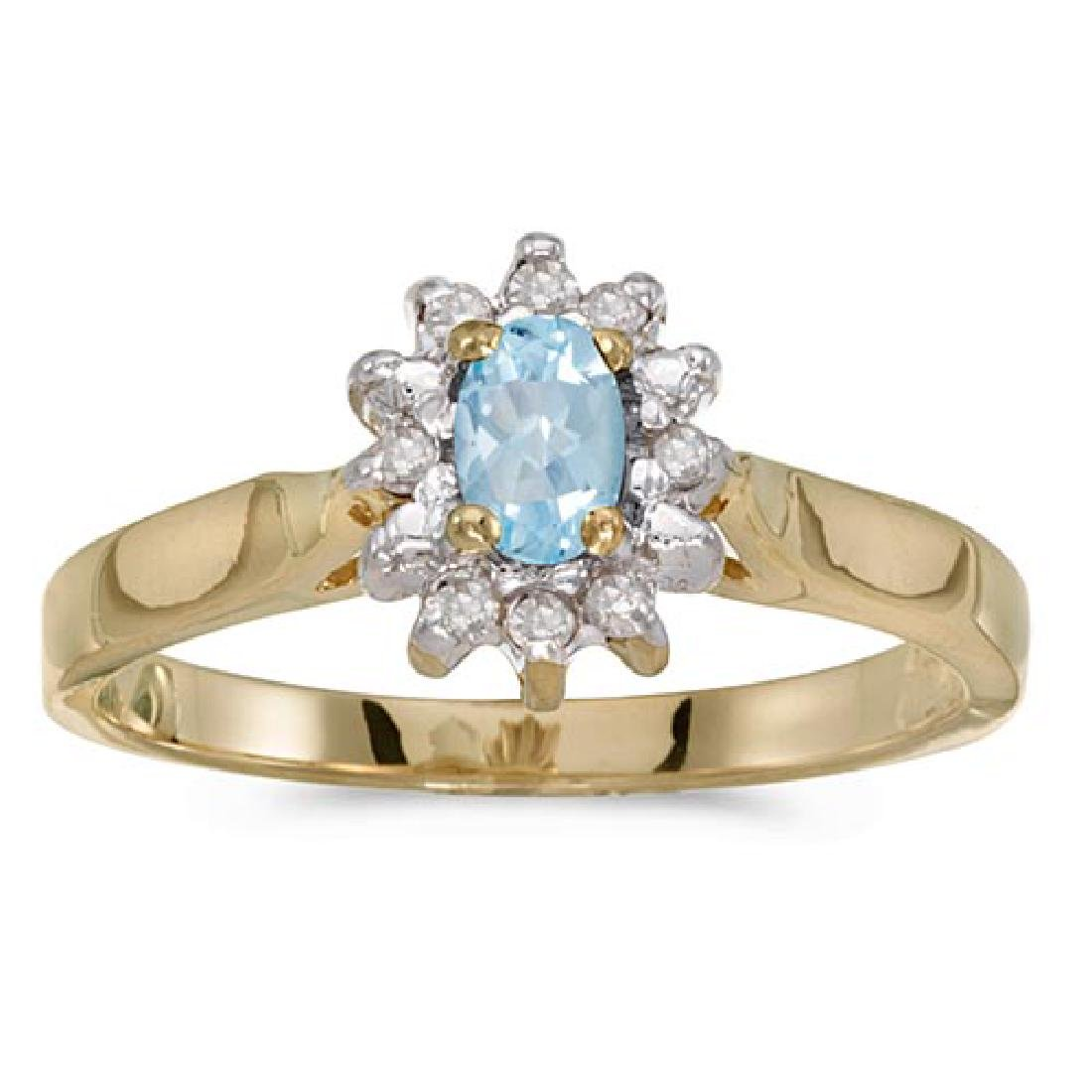 Certified 14k Yellow Gold Oval Aquamarine And Diamond R