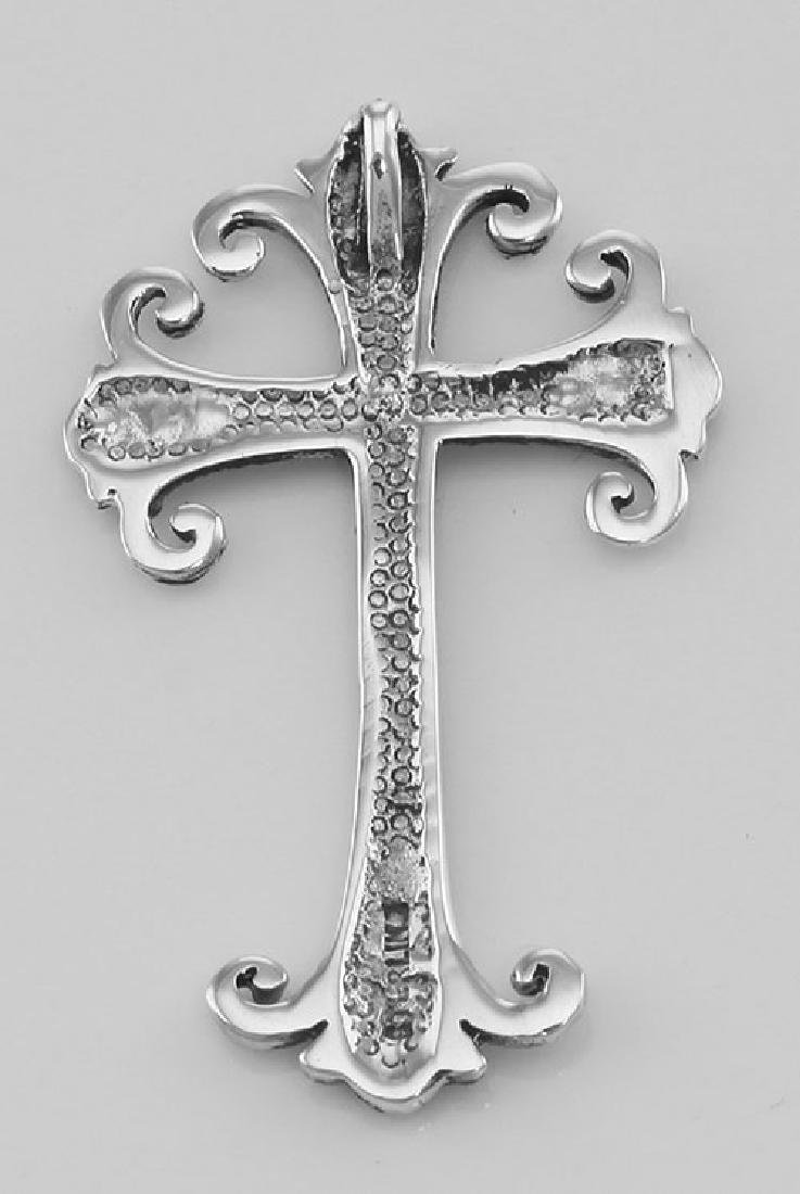 Antique Style Marcasite Cross Pendant - Sterling Silver - 2