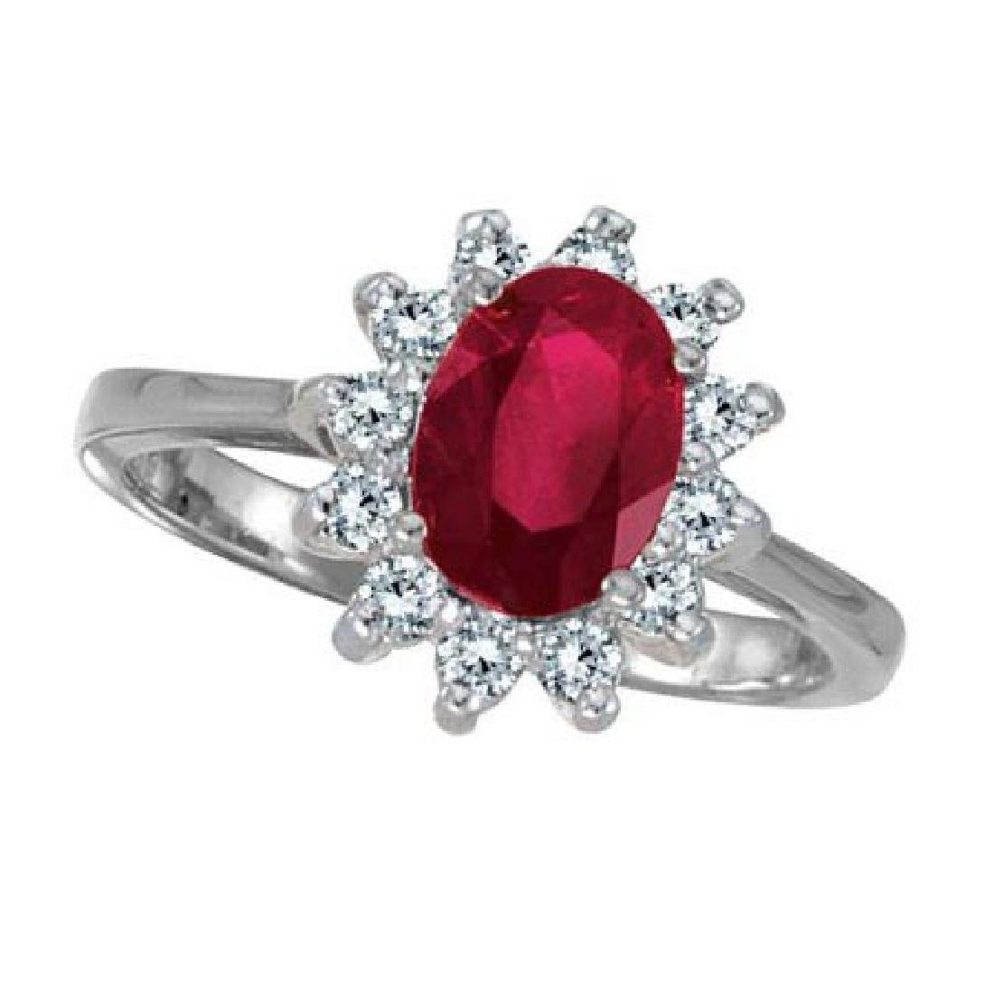 Lady Diana Oval Ruby and Diamond Ring 14k White Gold (1