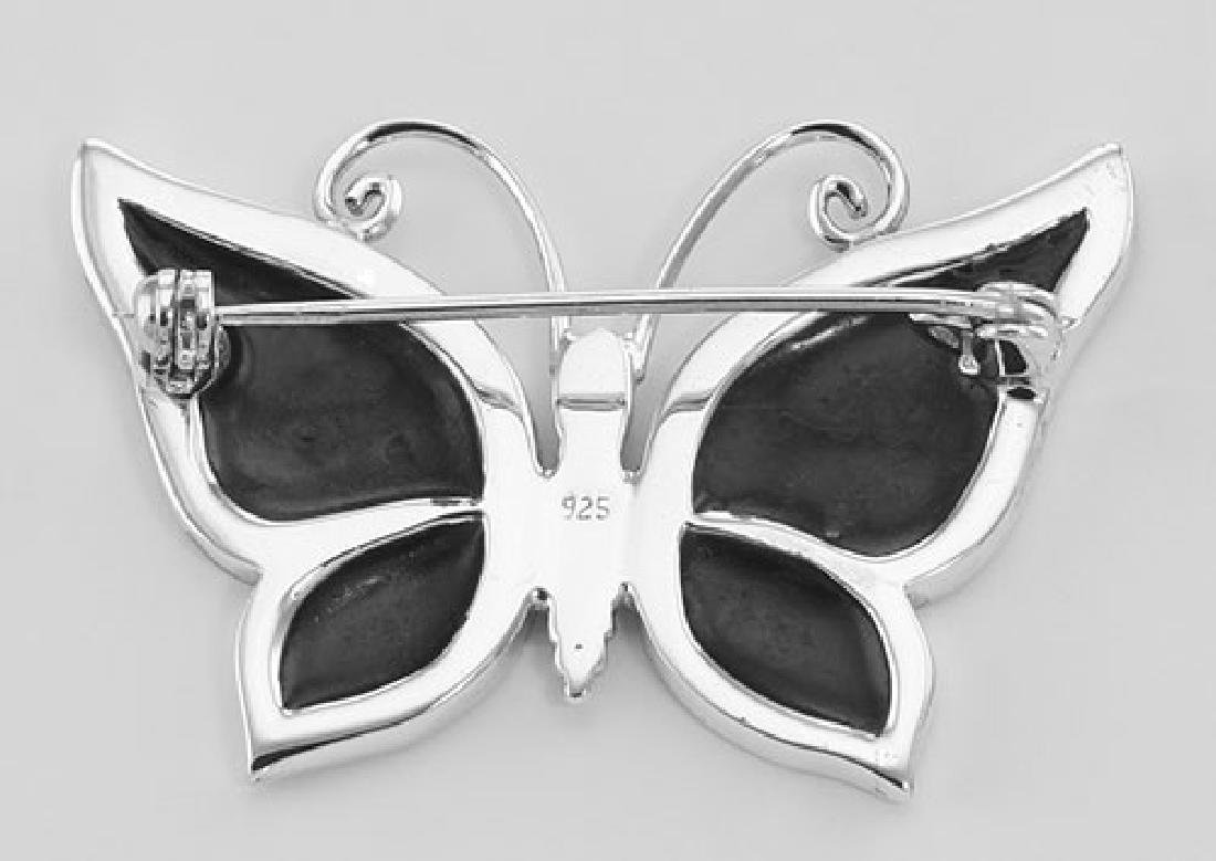 Abalone Shell Butterfly Pin / Brooch - Sterling Silver - 2