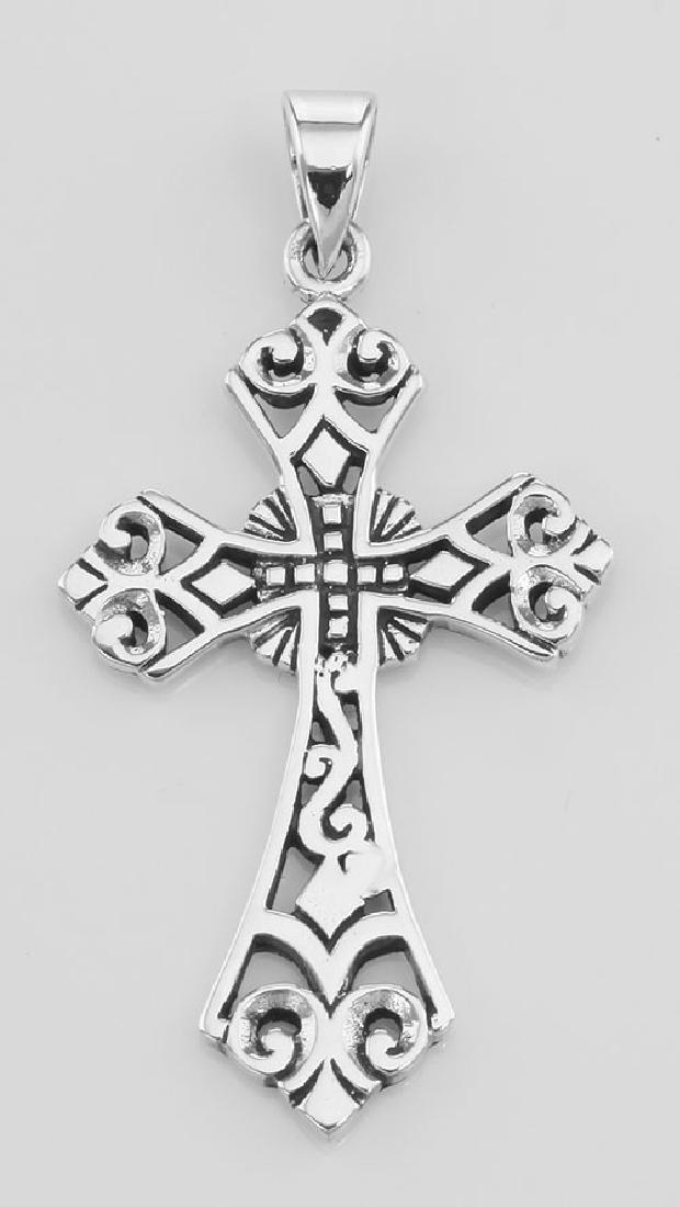 Filigree Openwork Cross Pendant - Sterling Silver