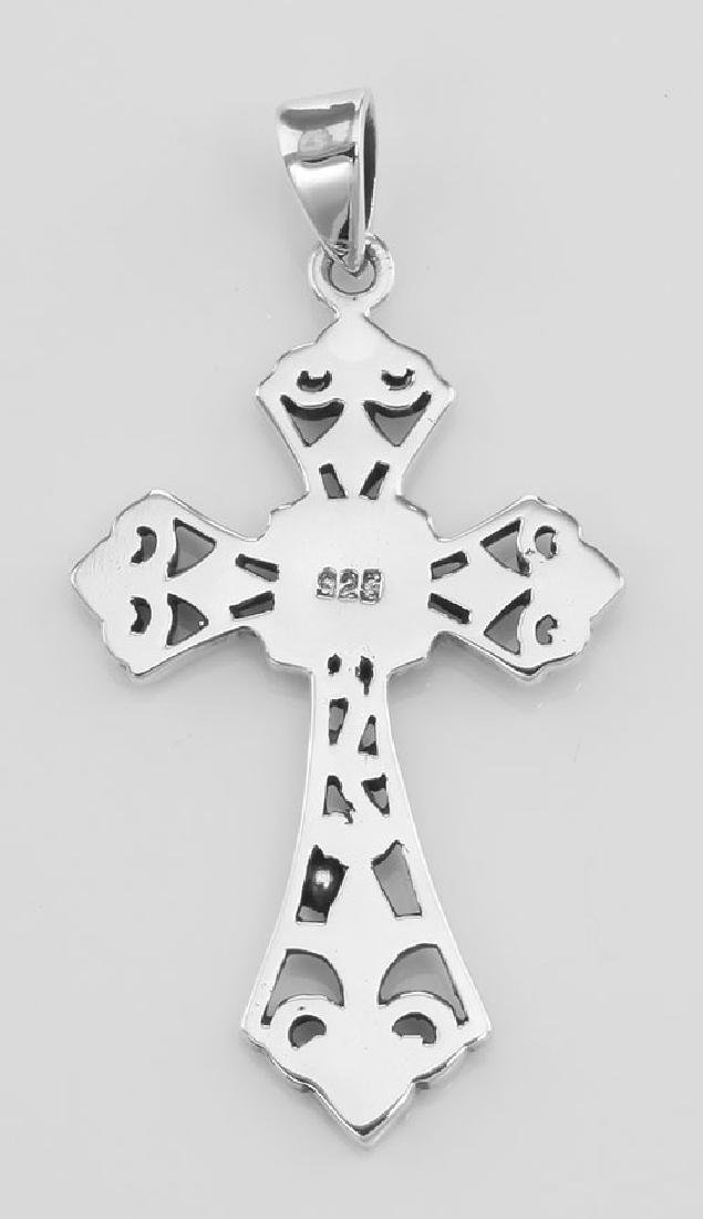 Filigree Openwork Cross Pendant - Sterling Silver - 2