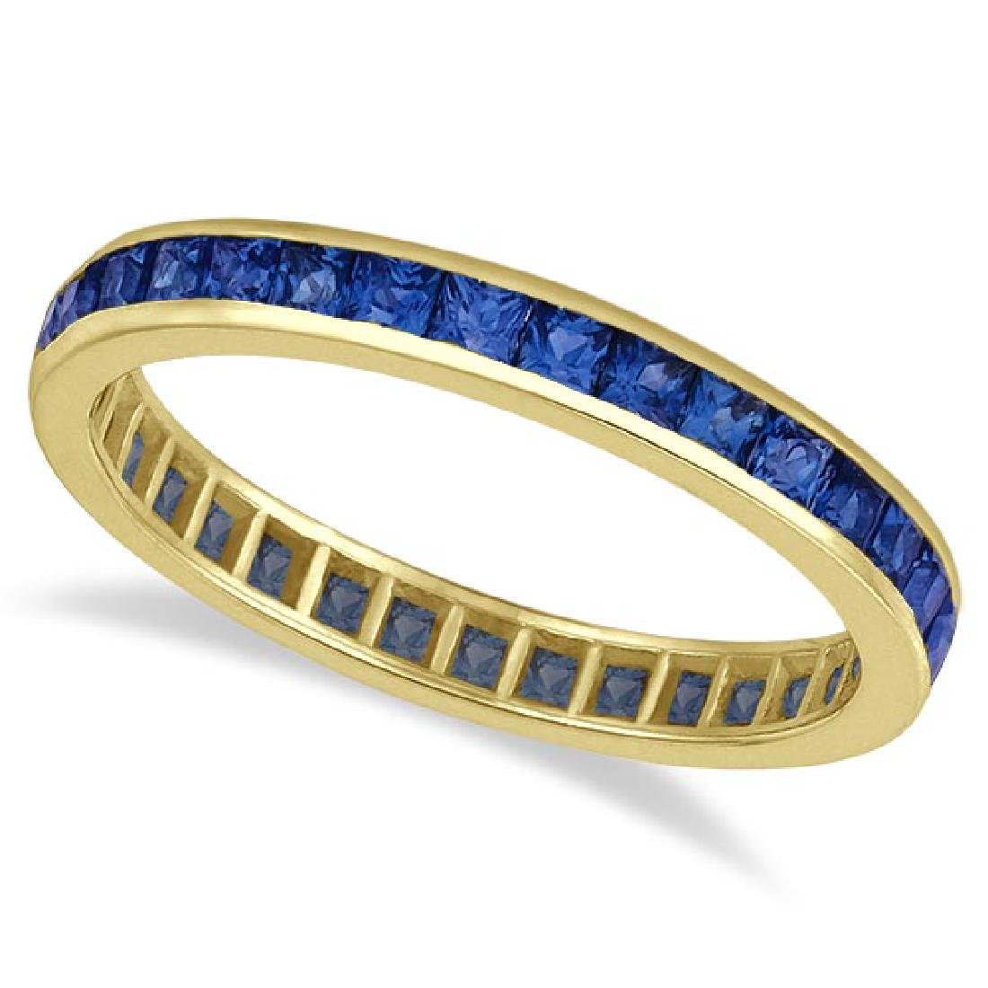 Princess-Cut Blue Sapphire Eternity Ring Band 14k Yello