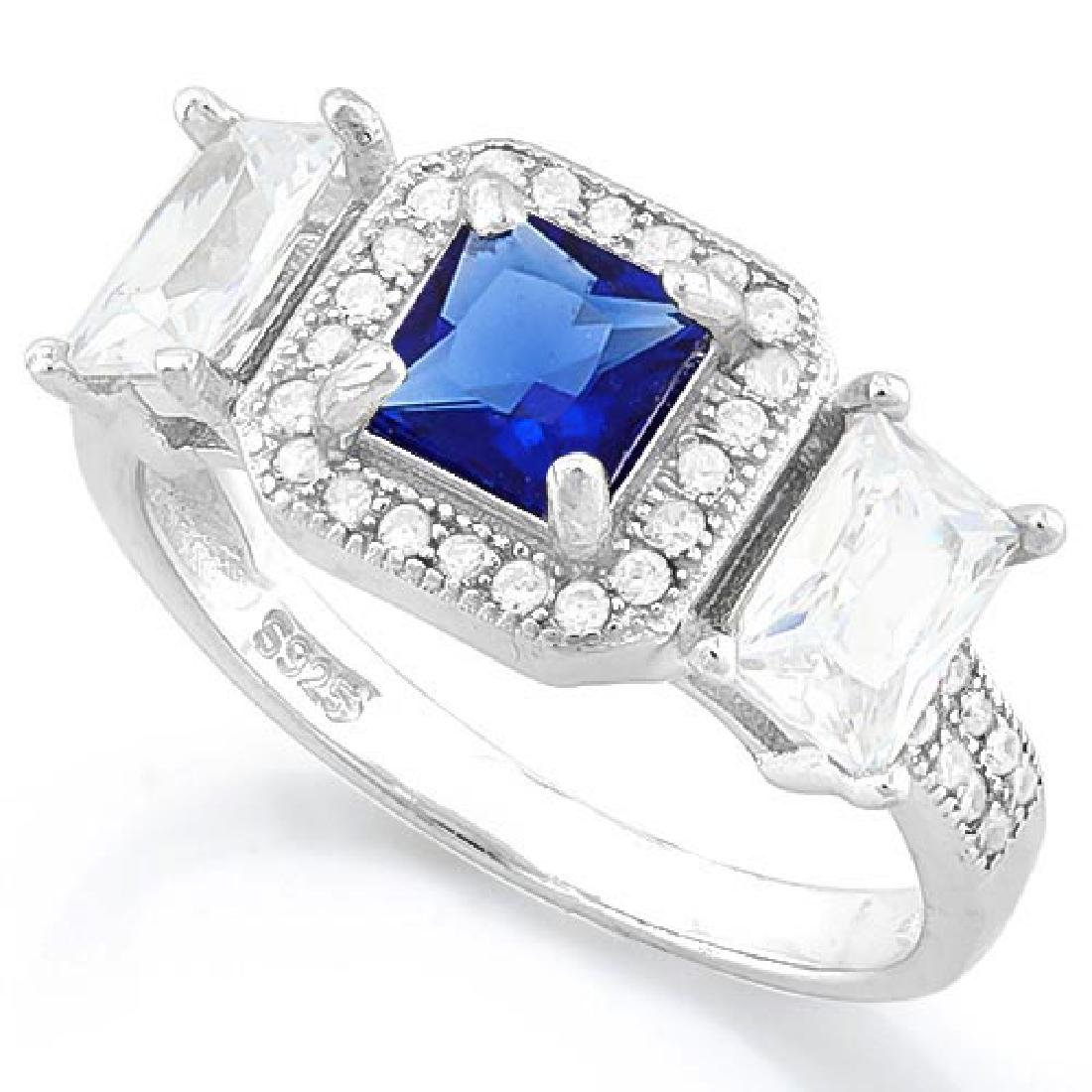 IDEAL CREATED BLUE SAPPHIRE 925 STERLING SILVER HALO RI