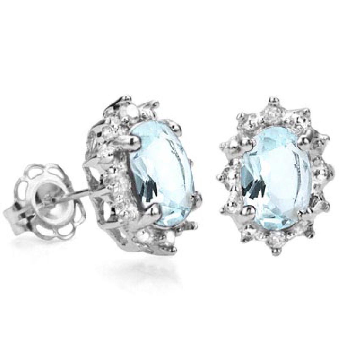 IDEAL 3/4 CARAT AQUAMARINE & DIAMOND 925 STERLING SILVE