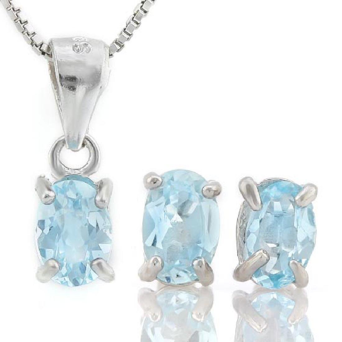 IDEAL 1 3/5 CARAT BABY SWISS BLUE TOPAZ 925 STERLING SI