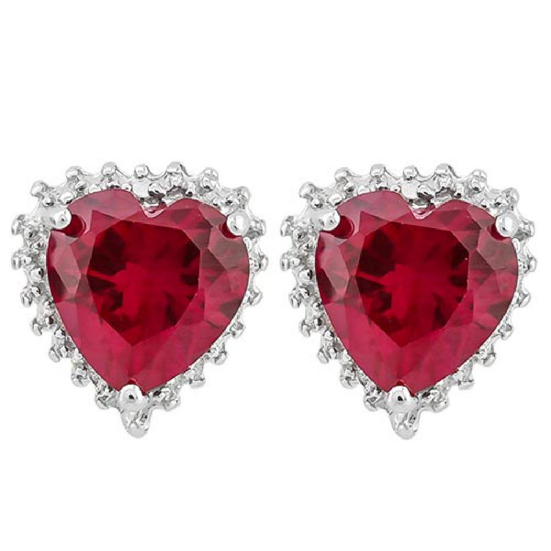 IDEAL 4 1/2 CARAT CREATED RUBY & DIAMOND 925 STERLING S